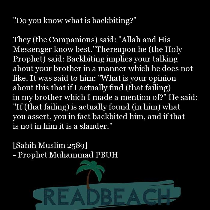 "10 Backbiting Quotes with Pictures 📸🖼️ - ""Do you know what is backbiting?"" They (the Companions) said: ""Allah and"