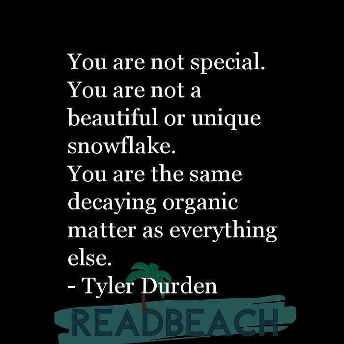 1 Fight Club Quotes with Pictures 📸🖼️ - You are not special. You are not a beautiful or unique snowflake. You are t