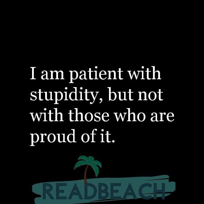 Minion Quotes - I am patient with stupidity, but not with those who are proud of it.