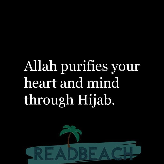 5 Pure Quotes with Pictures 📸🖼️ - Allah purifies your heart and mind through Hijab.