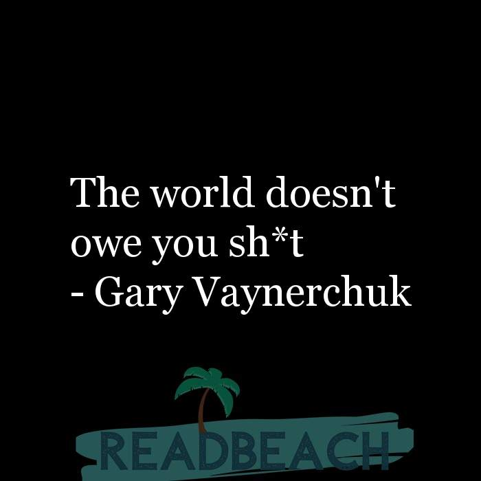 Gary Vaynerchuk Quotes - The world doesn't owe you sh*t