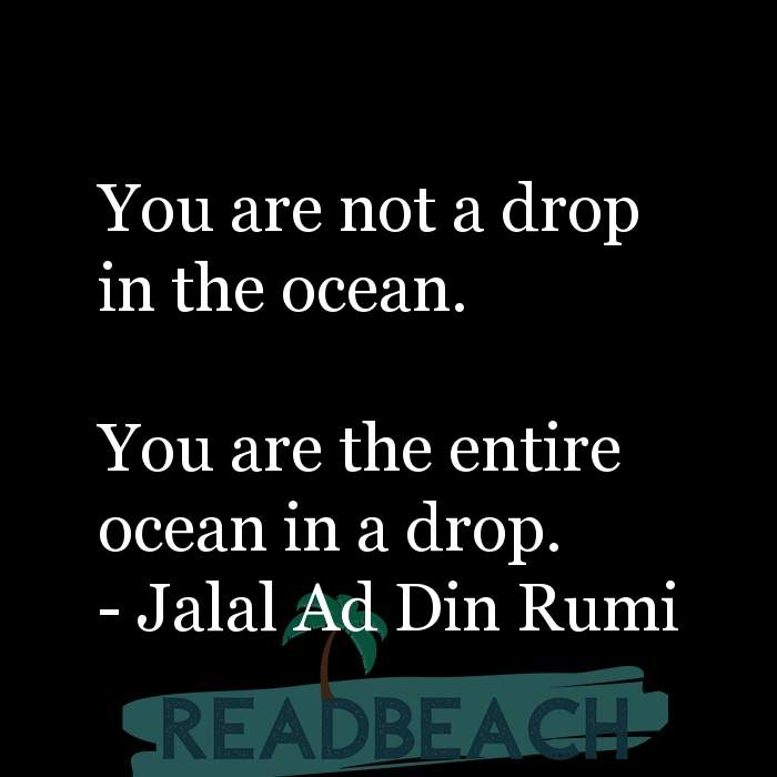 Jalal Ad Din Rumi Quotes - You are not a drop in the ocean. You are the entire ocean in a drop.