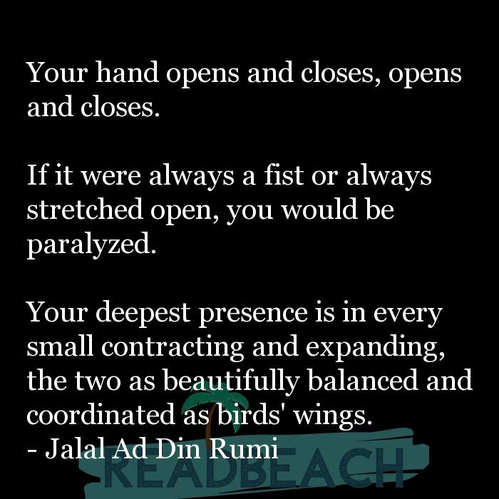 Jalal Ad Din Rumi Quotes - Your hand opens and closes, opens and closes. If it were always a fist or always stretched open