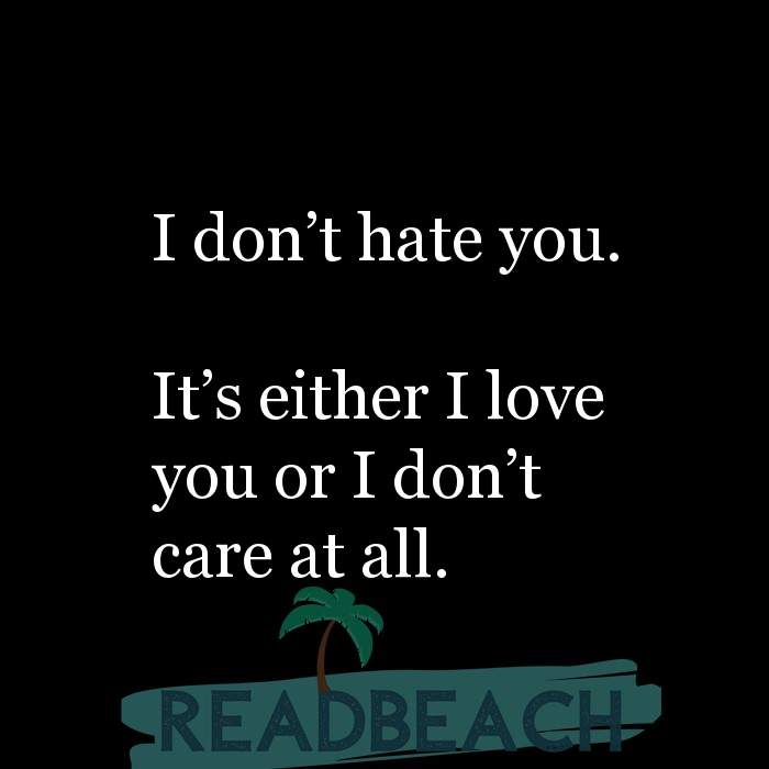 10 I Dont Care Quotes with Pictures 📸🖼️ - I don't hate you. It's either I love you or I don't care at all.