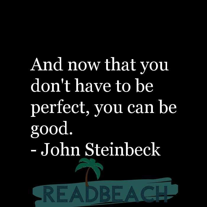 John Steinbeck Quotes - And now that you don't have to be perfect, you can be good.