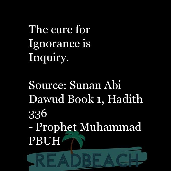 71 Hadith Quotes with Pictures 📸🖼️ - The cure for Ignorance is Inquiry. Source: Sunan Abi Dawud Book 1, Hadith 33