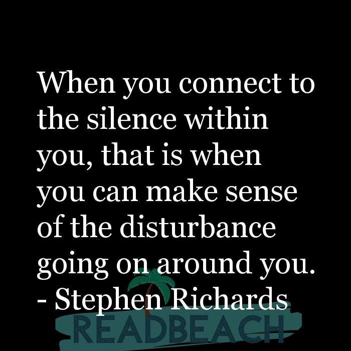 Stephen Richards Quotes - When you connect to the silence within you, that is when you can make sense of the disturbance goin