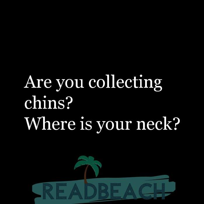 Savage Comebacks to insults - Are you collecting chins? Where is your neck?