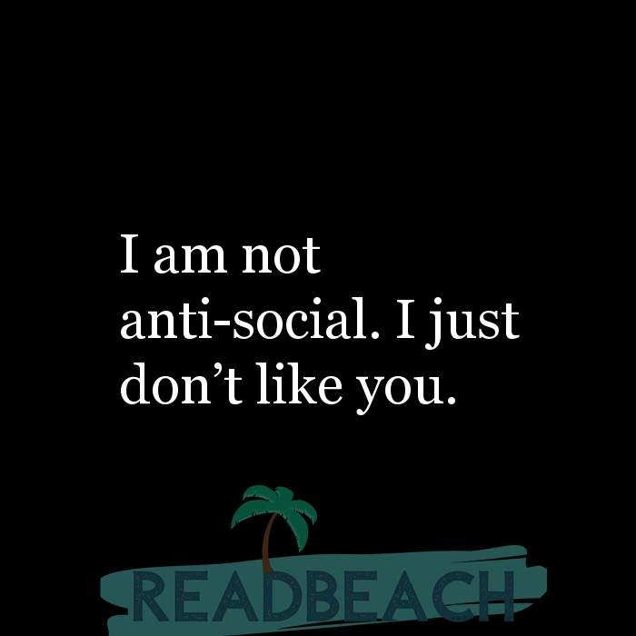 Savage Comebacks to insults - I am not anti-social. I just don't like you.