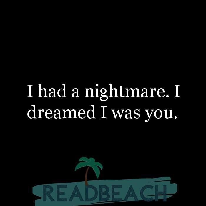 Savage Comebacks to insults - I had a nightmare. I dreamed I was you.