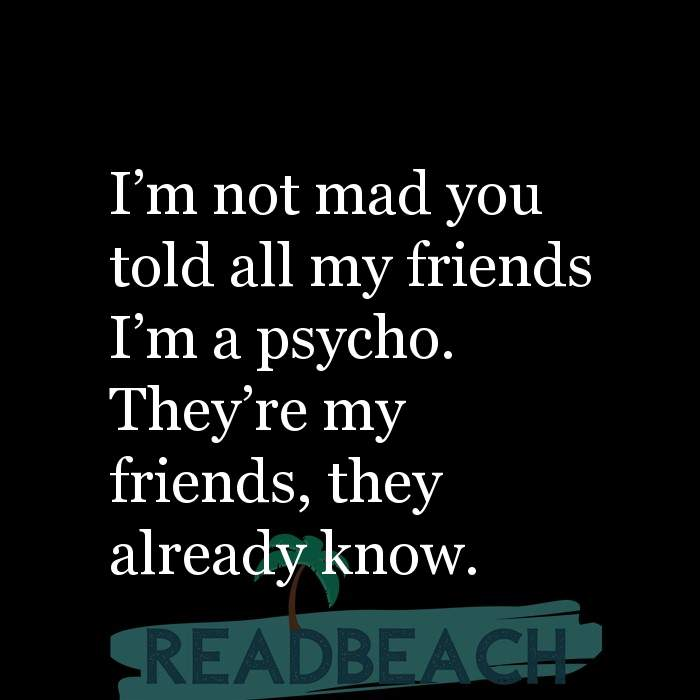 8 Biting Quotes with Pictures 📸🖼️ - I'm not mad you told all my friends I'm a psycho. They're my friends, they