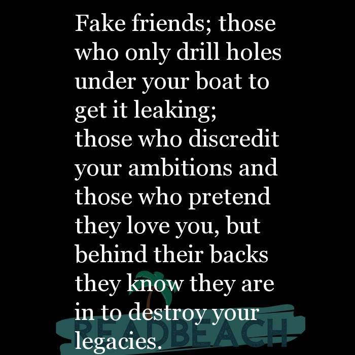 8 Biting Quotes with Pictures 📸🖼️ - Fake friends; those who only drill holes under your boat to get it leaking; those