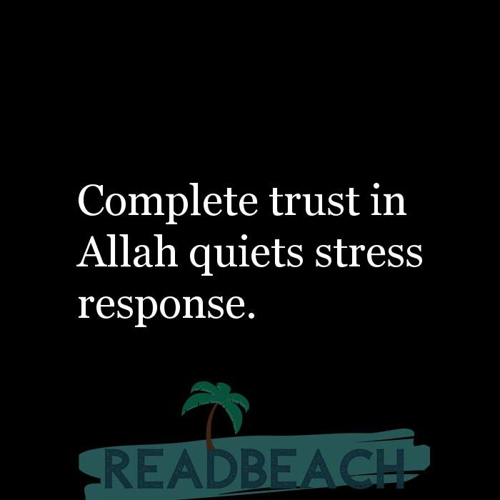 3 Stress Quotes - Complete trust in Allah quiets stress response.